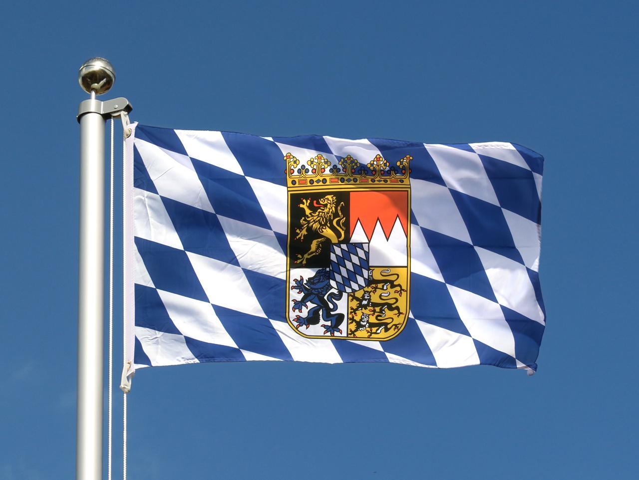deutschland bayern mit wappen flagge bayerische fahne 60x90 cm. Black Bedroom Furniture Sets. Home Design Ideas