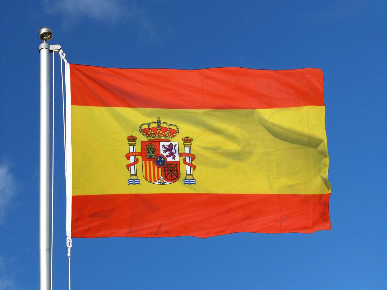 Spanien mit wappen hissfahne 100 x 150 cm for Dekoration spanien